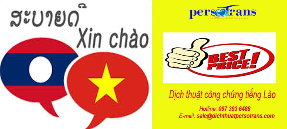 Giá dịịch thuật công chứng tiếng Lào